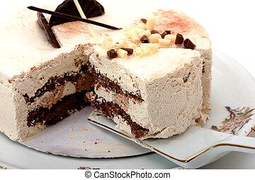 photo of cake on white background