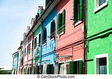 Painted Houses In Burano, Italy
