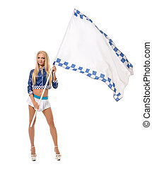 Photo of comely blonde posing with racing flag