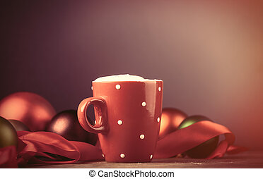 photo of cup of coffee and beautiful Christmas decoration on the wonderful brown wooden background