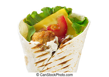 Photo of dietary burrito with cheese on white background