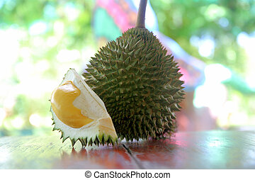 durian fruit on wooden table