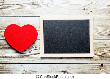 blackboard and heart shaped toy