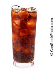 Photo of fizzy sweet water in a glass with ice cubes, isolated on a white background