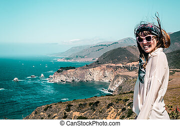 Girl near Bixby Bridge in California Coast