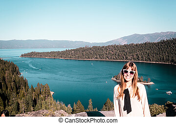 Girl near Lake Tahoe, California