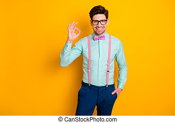 Photo of handsome cool clothes guy boyfriend self-confident person showing okey symbol express agreement wear specs shirt suspenders bow tie trousers isolated yellow color background