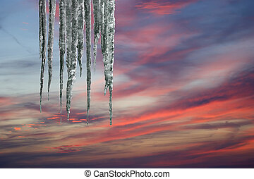 Photo of icicles. Natural light in a sunny day