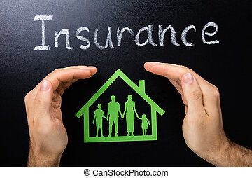 Photo Of Insurance Of Family Concept On Blackboard