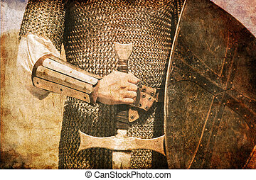 Photo of Knight and sword. Photo in old image style.