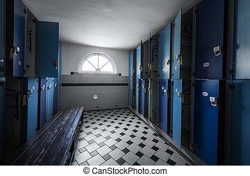 Locker room with modern new lockers