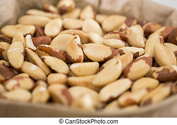 Photo of mix brasilian nut in the food store.