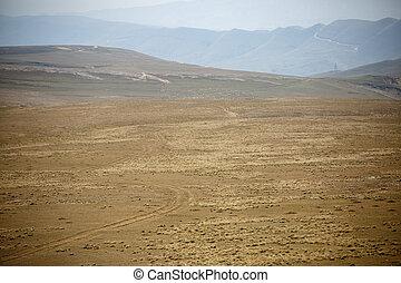 Photo of mountain landscape, blue misty sky