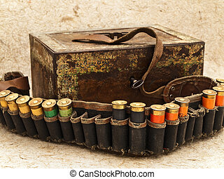ammunition belt - Photo of old ammunition belt with shells...