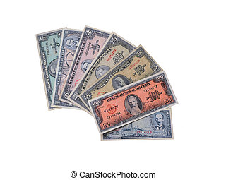 Photo of old Cuban banknotes of t
