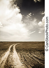 photo of old road at field in retro style