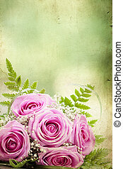 Photo of pink wedding bouquet - Vintage photo of pink...