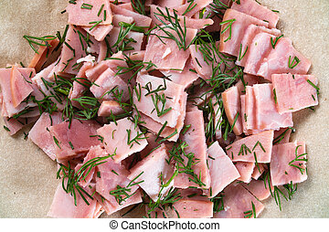 Photo of pork ham filling with fennel