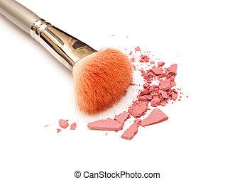photo of powder on white background, close-up