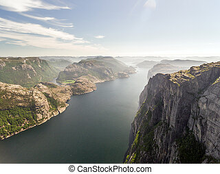 Photo of Preikestolen, Pulpit Rock at Lysefjord in Norway. Aerial view.