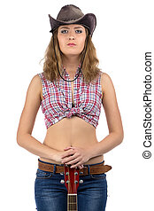 Photo of pretty young cowgirl