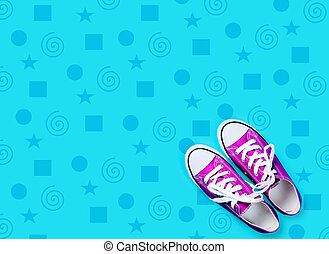photo of purple gumshoes on the wonderful blue background in pop art style