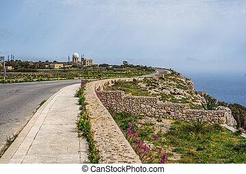 Radar station on Dingli Cliffs, Mediterranean Sea, Malta,