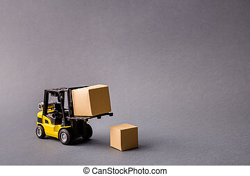 Photo of small electric professional truck bringing delivering stuff in boxes transportation start-up project commerce isolated over dark pastel grey color background