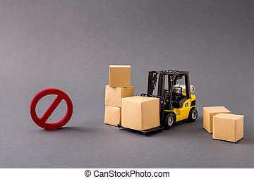 Photo of small loader bringing stuff buyings big large boxes transportation supply management banned import export not included service isolated over dark pastel grey color background