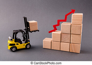 Photo of small loader bringing wooden boxes supply management building new progress marketing service growing profit arrow pointing up isolated over dark pastel grey color background