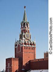 Spasskaya tower - Photo of Spasskaya tower in Kremlin. ...