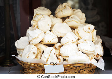 Photo of stack of meringue cookies