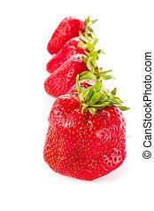 Photo of strawberry isolated on white background, closeup