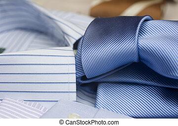 Striped necktie on shirt - Photo of Striped necktie on shirt...