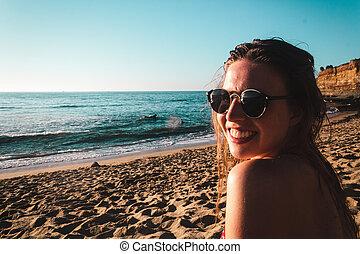 Stylish Girl at the Beach in California