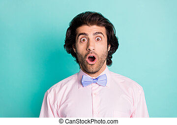 Photo of surprised bristle curly man dressed pink outfit open mouth isolated turquoise color background