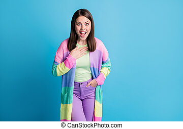 Photo of surprised funny woman dressed casual colorful outfit hand arm chest open mouth isolated blue color background