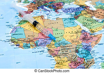 syringe on a map of africa