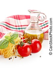 Photo of tagliatelle pasta with cherry tomatoes at the top on white