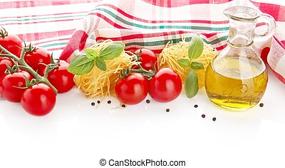Photo of tagliatelle with cherry tomatoes, basil, oil, garlic at the top on white