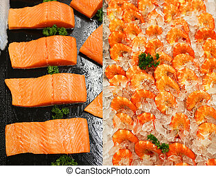Photo of tasty shrimp and fish