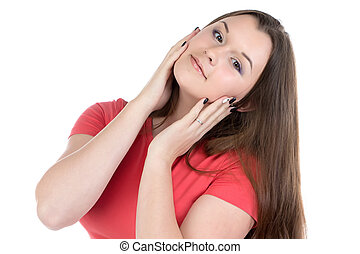 Photo of teenage girl with hands on face