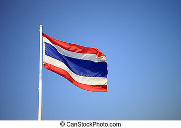 Thailand national flag waving on blue sky background