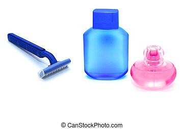 Blue razor and lotion after shave