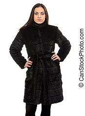 Photo of the brunette in fur coat