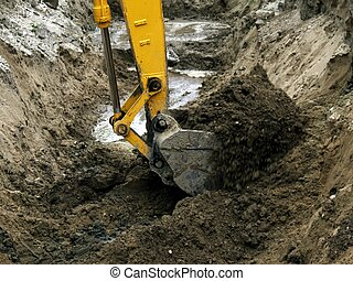 Photo of the bucket of the excavator