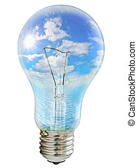 bulb with sky - Photo of the bulb with sky inside against ...
