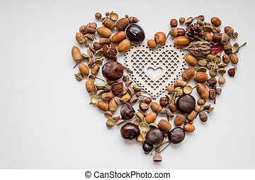 photo of the delicious nuts acorn as heart, heart shaped toy, fir-cones and nuts on the white background. autumn decorations .Copy space