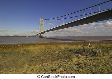 photo of the humber bridge taken from the south bank of the river humber