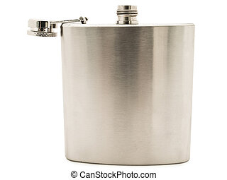 metal flask - Photo of the metal flask against the white...